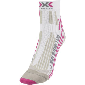 X-Socks Run Speed Two Calcetines Running Mujer, white/fuchsia